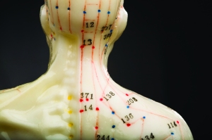 Rear view neck of acupuncturists doll isolated on black